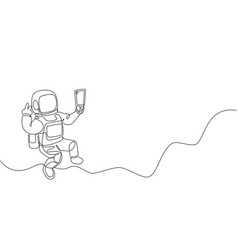 One single line drawing space man astronaut vector
