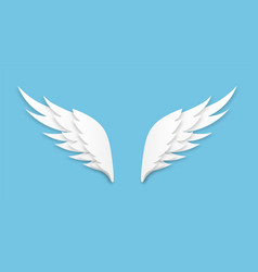 origami wings white paper cut angel logo vector image