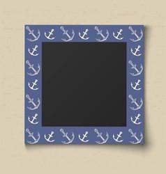 Paper color photo frame boy portrait blue sea vector