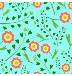 Pattern with Flowers and Grass vector