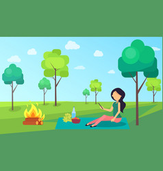 picnic of woman sitting on cloth nature greenery vector image