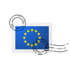 Postmark with european union flag and postage vector