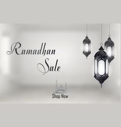 ramadan kareem sale with hanging lantern vector image