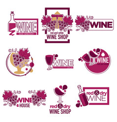 red and dry wine tasting place to drink wine logos vector image