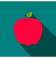 Red apple flat icon with shadow vector image
