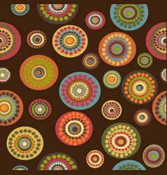 retro floral seamless on brown background vector image