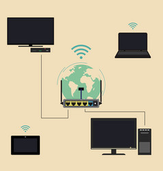 router and devices vector image