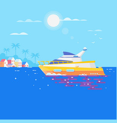 sailboat in the sea and seagulls aroundluxury vector image