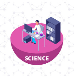 science 3d isometric research lab with laboratory vector image