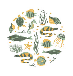 sea creatures seamless pattern round shape vector image