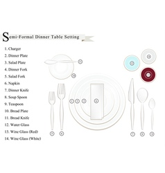 Semi-Formal Dinner Place Setting Diagram vector image