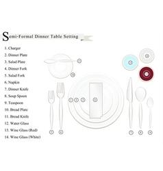 Semi-Formal Dinner Place Setting Diagram vector