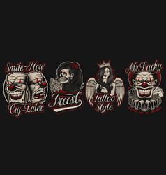set coloured in chicano tattoo style vector image