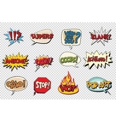 Set comic book bubble stickers vector