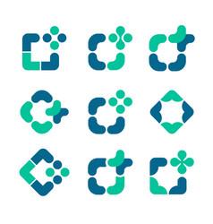 Set green and blue mosaic frames vector