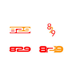 set of letter 829 logo icon design template vector image