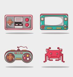 Set videogame play game simulator vector