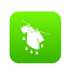 shirt drying icon green vector image