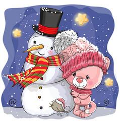 Snowman and cute cartoon kitten girl vector