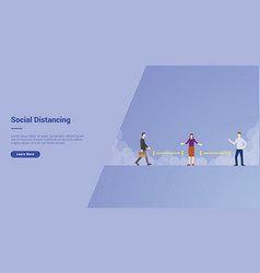 Social distancing campaign concept for website vector