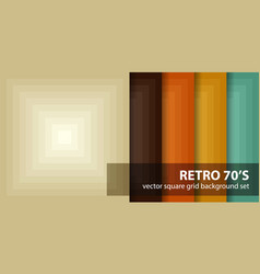 square pattern set retro 70s seamless vector image