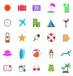 Summer color icons on white background vector image