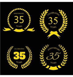 Thirty five years anniversary laurel gold wreath vector image