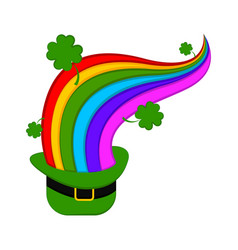 traditional irish hat with a rainbow and clovers vector image