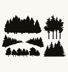 trees vintage collection vector image