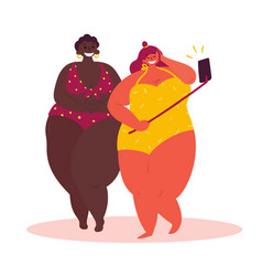 two cartoon fat girl take selfie white background vector image