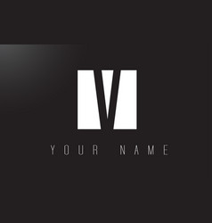 v letter logo with black and white negative space vector image