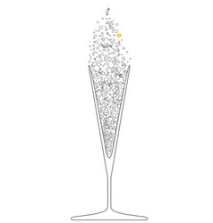 V shaped champagne glass vector