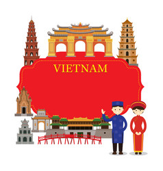 Vietnam landmarks people in traditional clothing vector