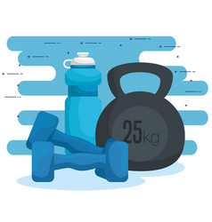 Water bottle with dumbbells to exercise harmony vector