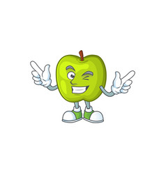 Wink character granny smith green apple with vector