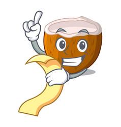 With menu cartoon beverage coconuts on the beach vector