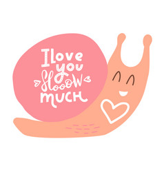 with pink snail heart and vector image
