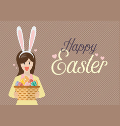 woman with bunny ears mask holding easter eggs in vector image