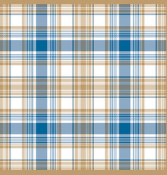 blue gold white check fabric texture seamless vector image vector image
