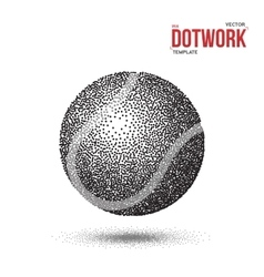 Dotwork Tennis Sport Ball Icon made in vector image vector image
