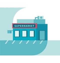 Supermarket front view Market shop building Flat vector image