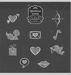 valentines day collection of vintage sketch icon vector image