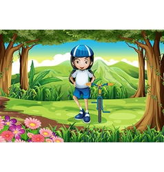 A girl and her bike in the middle of the forest vector image vector image