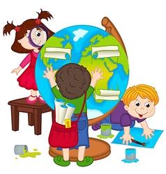 children make globe vector image vector image