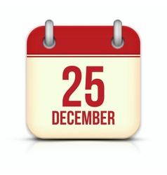 Christmas Day Calendar Icon 25 December vector image
