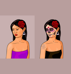 girl with calavera makeup vector image