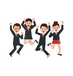 happy jumping business people celebrating their vector image