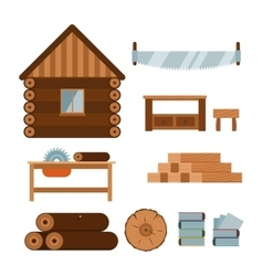 Lumberjack woodworking tools icons vector