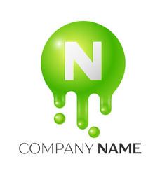 N letter splash green dots and bubbles letter vector