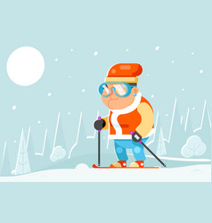 skiing grandfather adult skier winter sports vector image
